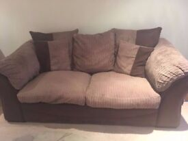 Brown & Beige Sofa in Very Nice Good Condition