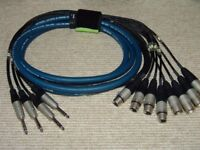 Recording Studio Cables - Vandamme Professional - Insert Loom - 4 x Channel - Jack to XLR