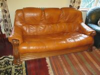 Leather sofa and armchair for sale cheap