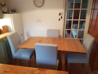 Ikea Mockelby Drop Leaf Table and 4 Henriksdal Chairs - Nearly New (2 months old)