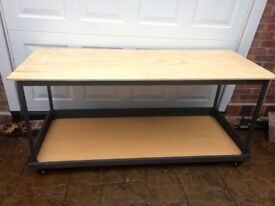HANDMADE HEAVY DUTY WORK BENCH ON WHEELS MANCAVE CAN DELIVER