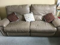 Leather electric reclining sofa, chair and one manual recliner