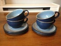 Blue Denby Cups and Saucers