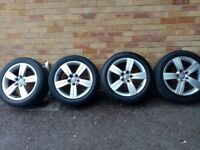 Set of four 17inch Audi TT alloy wheels with fitted tyres