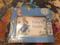 Peter Rabbit baby's room door plaque.