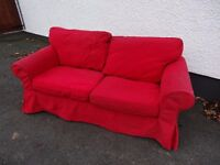 2 seater settee sofa for sale red IKEA