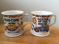 2 Past Times fine bone china mugs – 'Master of the House' and 'Head Cook'. £12 ovno both or £7 each