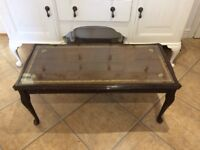 vintage coffee table with glass top