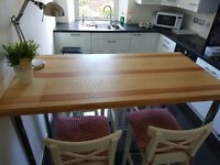 IKEA Kitchen bar table & 4 upholstered stools, very good state. Delivery available.