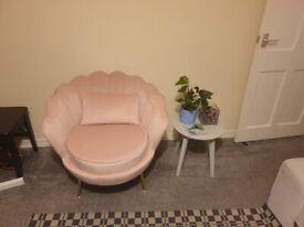 (Pink) LYM Velvet Upholstered Sofa Armchair new condition