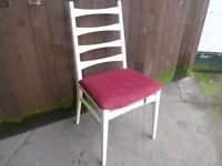 Single White Dining Chair with red cover base Delivery available