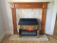 FIRE WITH MARBLE HEARTH WITH WOODEN SURROUND