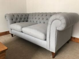 TWO STUNNING PALE GREY CHESTERFIELD SOFAS (1 X 3 SEATER, 1 X 2 SEATER) FROM JOHN LEWIS