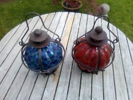 GARDEN TREE/TABLE/OUTSIDE HANGING CANDLE GLASS LANTERN