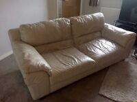 FREE - Cream leather three-seater sofa