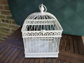 Pre-loved cream enamel rectangular birdcages ideal for wedding table centre pieces
