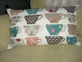 rectangular vintage shabby chic cushion with embroidered cups