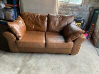 NEXT Tan leather sofa bed