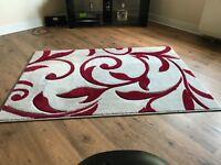 Red & Cream flower pattern rug