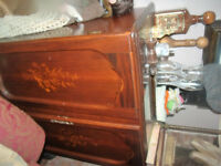 beautiful vintage inlaid wooden cabinet shelves drinks tv
