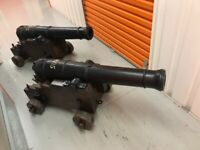 Antique Cannons, pair, signal-type, heavy, ornamental.