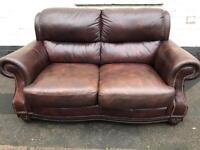 Vintage Cigar Brown Leather Sofa
