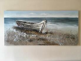 Rowboat multimedia wall art / wall painting