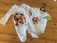 Elmer newborn baby grow & vest