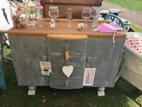Grey Shabby Chic Sideboard with Natural Wood Top