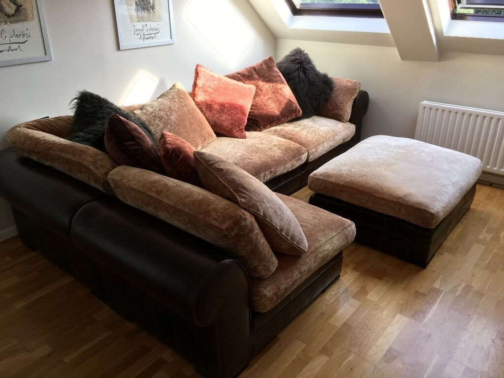 Large Genuine Italian Leather And Chenille Corner Sofa With Matching Footstool