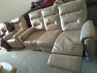 Real Leather suite recliner sofa & Armchair in VGC Deliv Poss