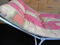 Sun Loungers x 2 Fold up with cushions. Yellow and Pink colour. Good clean condition. Wickford Essex