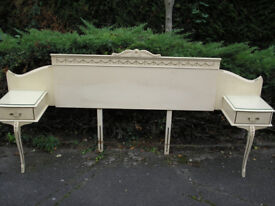Double headboard with side draws, 60's- Vintage.... quality item. Shabby-Chic ?