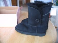 Black shearling button boots UK size 1