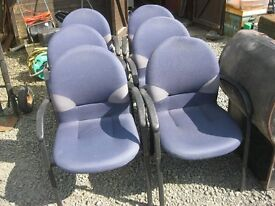 6 X MATCHING MODERN BLUE COMFORTABLE CHAIRS. VERSATILE LOCATION USAGE. VIEWING/DELIVERY AVAILABLE