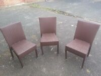 Set of 3 rattan chairs