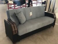 Brand New Turkish Velvet Fabric 3, 2, 1 Seater Sofa Bed Settee with Ottoman Storage - Wooden Arms