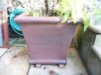 2 Square, Most Unusual, Super-Size, Stoneware Plant Pots.