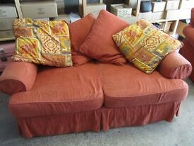 sofa & chair with cotton washable covers in terra cotta