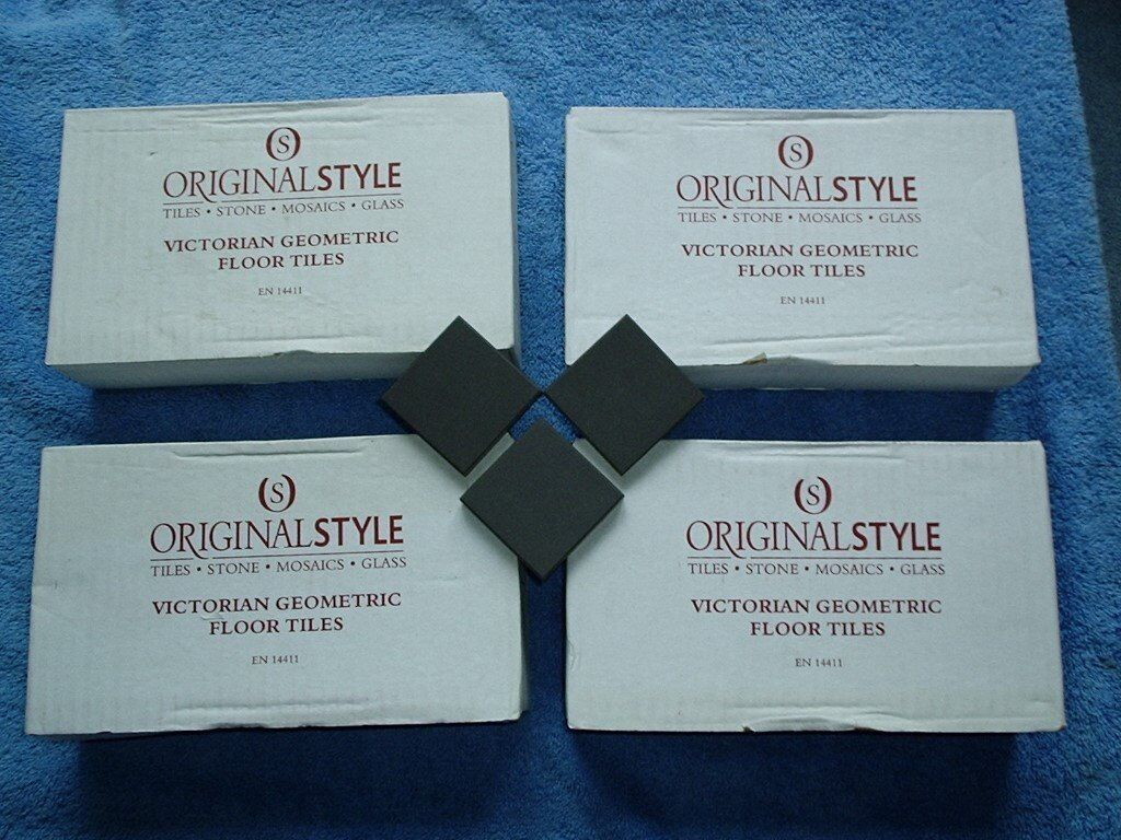 24 NEW BOXES of VICTORIAN GEOMETRIC FLOOR TILES by ORIGINAL STYLE Co ...