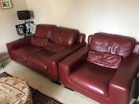 3 piece leather sofa excellent red furniture