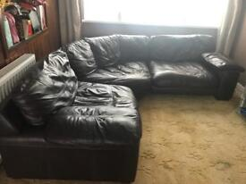 Large real leather sofa and 2 seater sofa