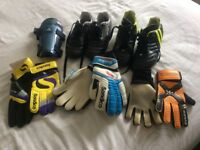 Football boots, gloves and shin pads