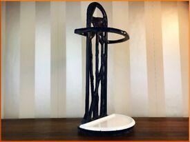 Vintage Enamel Cast Iron Umbrella Stand Antique