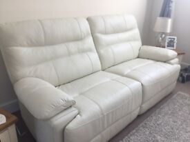 Scs Williams 3 seater leather power recliner sofa & matching leather manual recliner