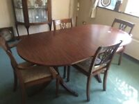Beautiful solid mahogany dining table and chairs
