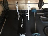 For Sale: weights bench, 2 x bar bell (non-Olympic), 2 x dumbbell bars, various weights