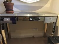 Glass mirrored dressing table edged in gold