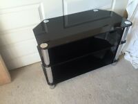 Black Glass and Chrome Nest of Tables and Corner TV Unit