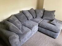 Jumbo Cord Corner Sofa - Grey - Right Facing